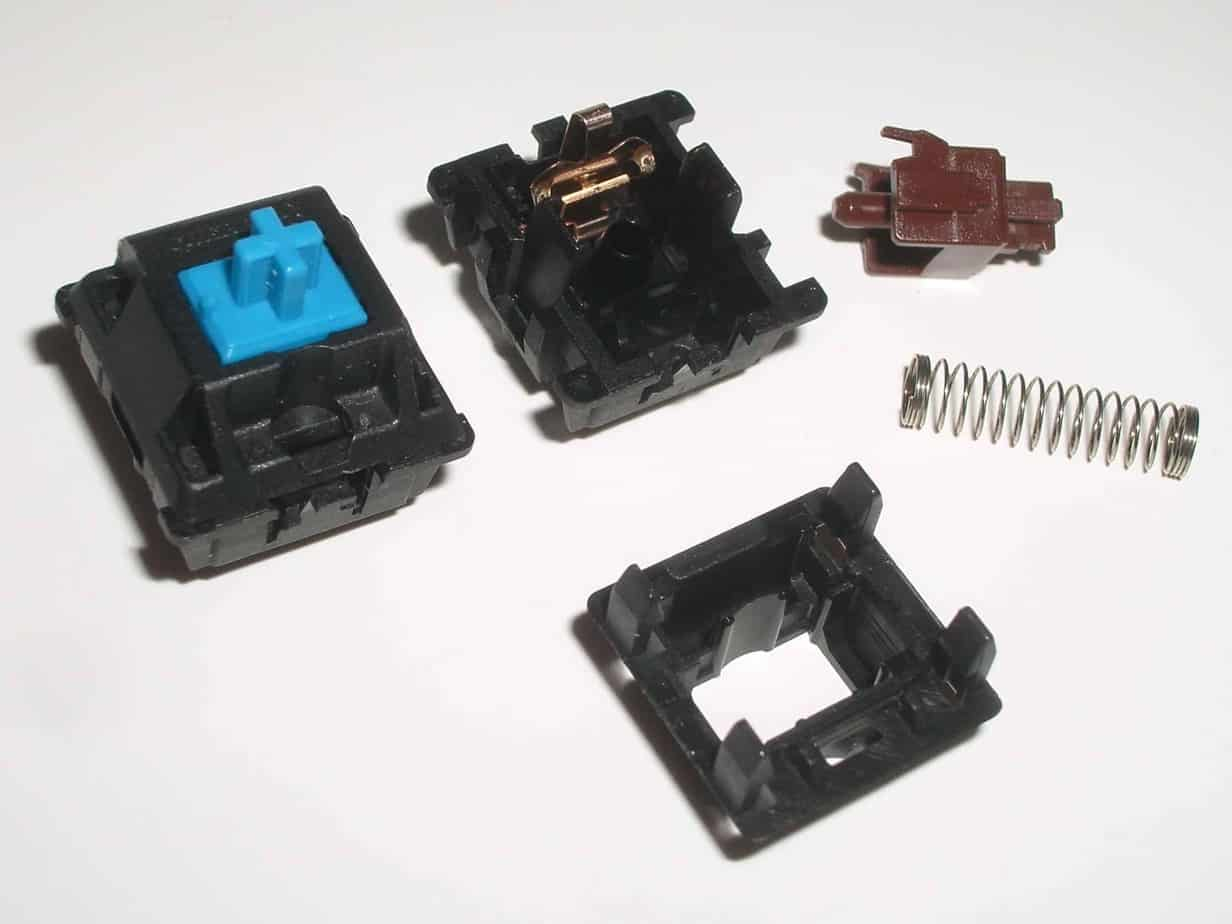 Different parts of a mechanical keyboard switch.