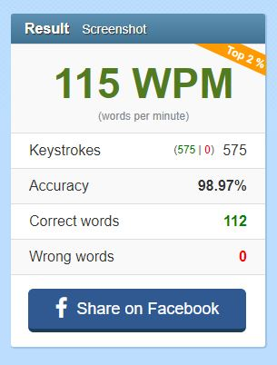 typing test of 15wpm