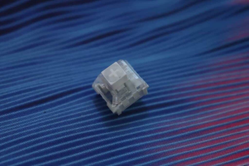 Kailh Box White keyboard switch on a deskmat