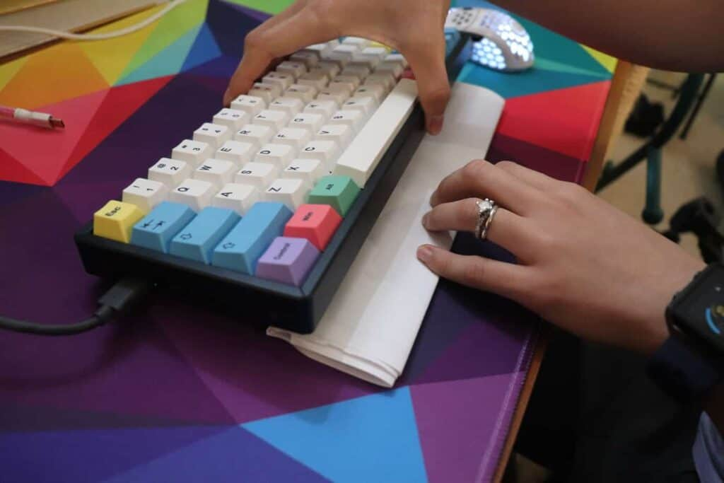 keyboard with inverted typing angle