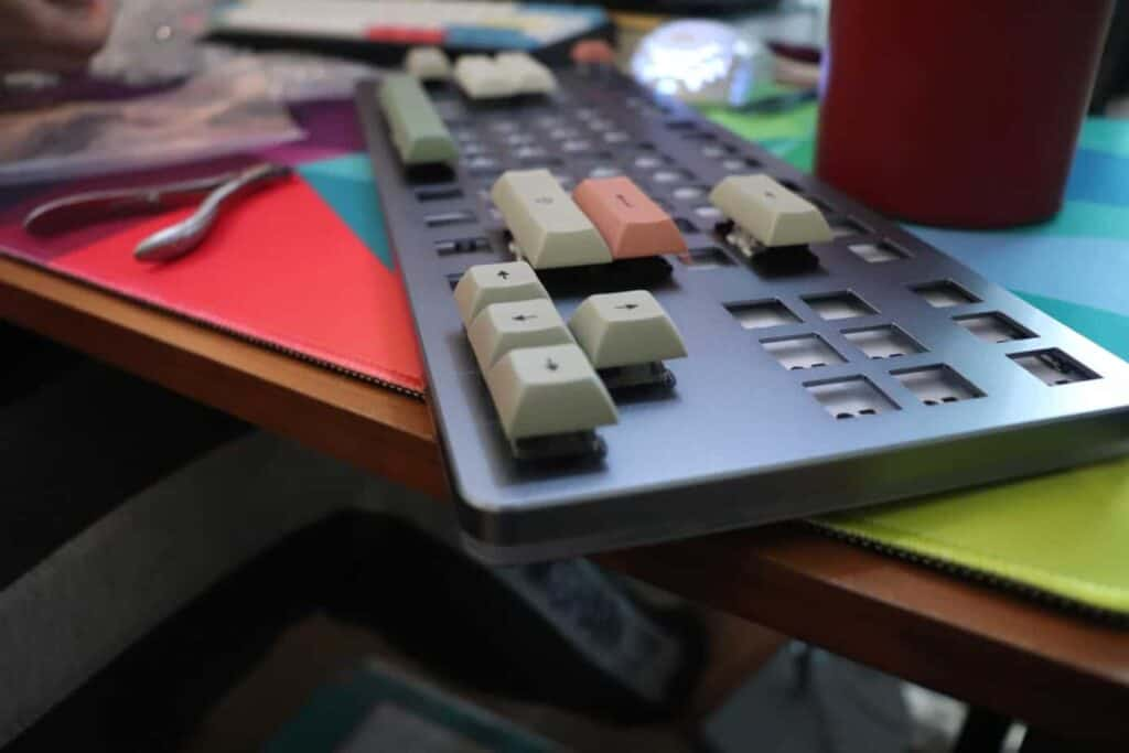 Drop Ctrl mechanical keyboard with most of the switches taken out.