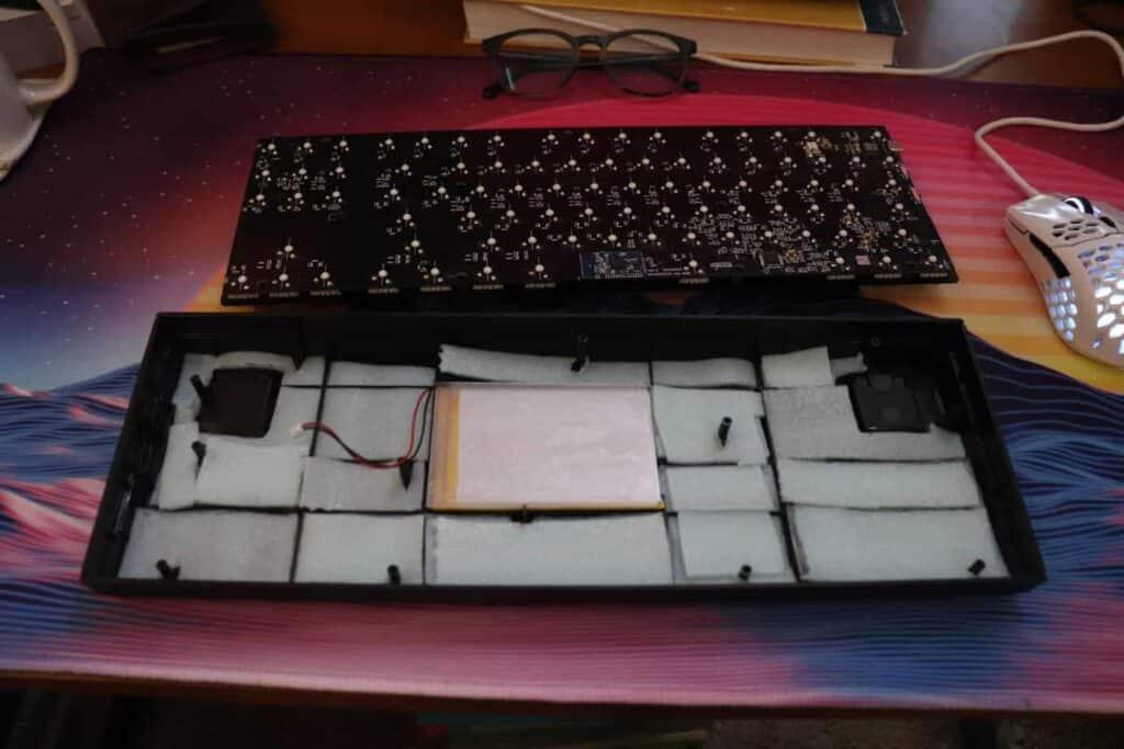 packing foam inside a mechanical keyboard case.