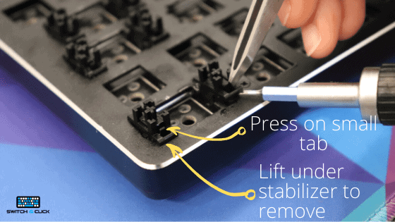 stabilizers being removed from mechanical keyboard