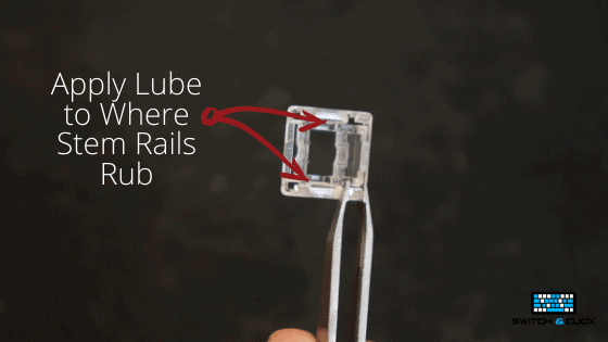diagram explaining where to lube on the top housing of a mechanical switch