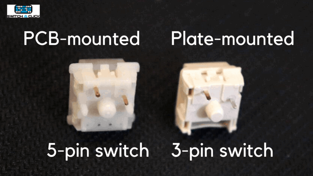 PCB-mounted (5-pins) vs Plate-mounted (3-pin) side-by-side switch photo and infographic
