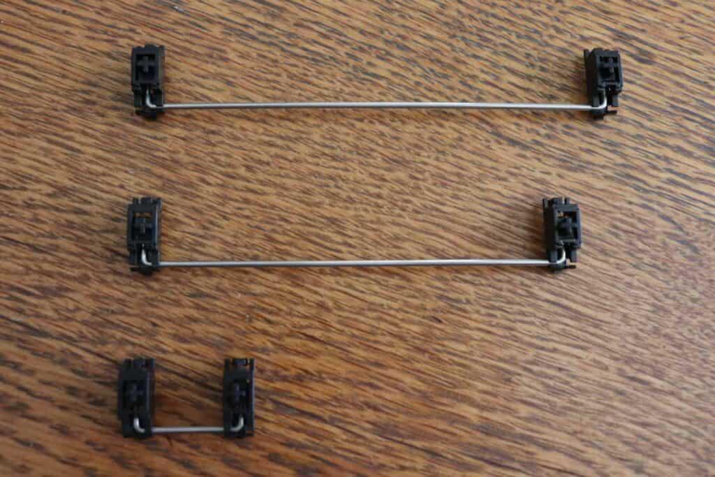 Three stabilizer sizes side-by-side. 7u, 6.25u, and 2u.
