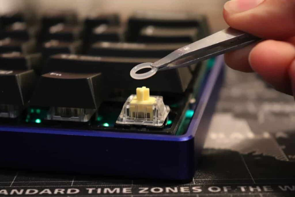 O-ring being placed on mechanical keyboard switch
