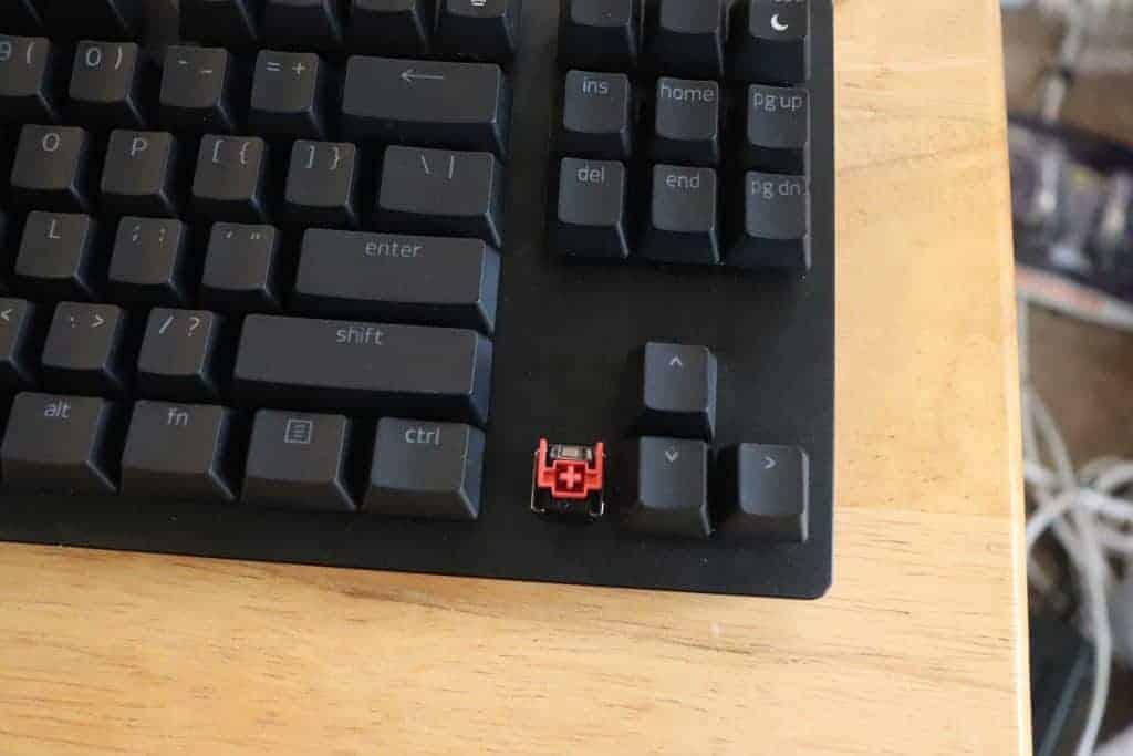Razer optical red switch in a mechanical keyboard