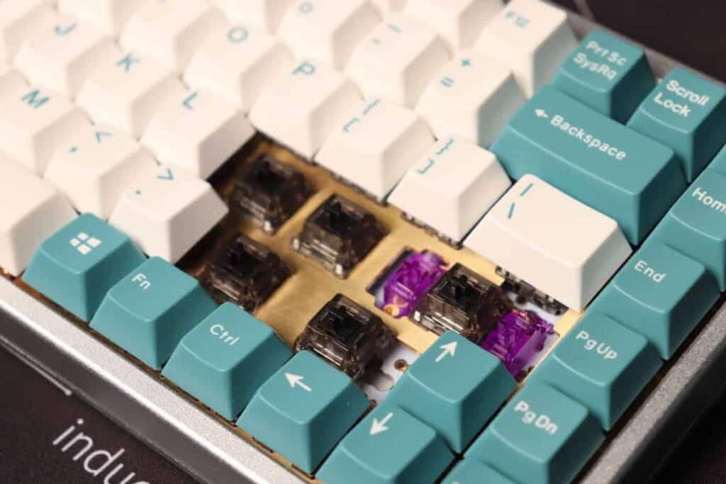 Keycaps taken off a mechanical keyboard