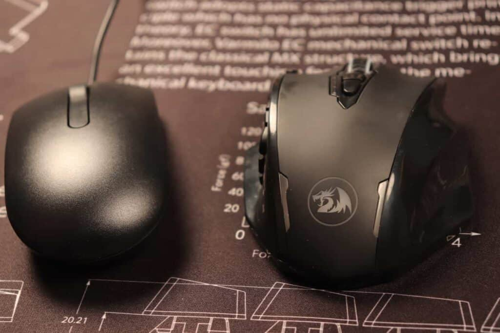 gaming mouse and regular mouse side by side comparison