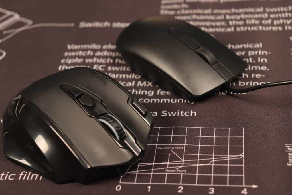 Gaming mouse next to regular mouse
