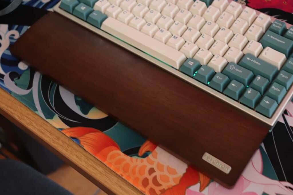 mechanical keyboard with a wrist rest