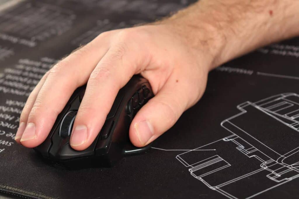 Front view of Razer mouse being used