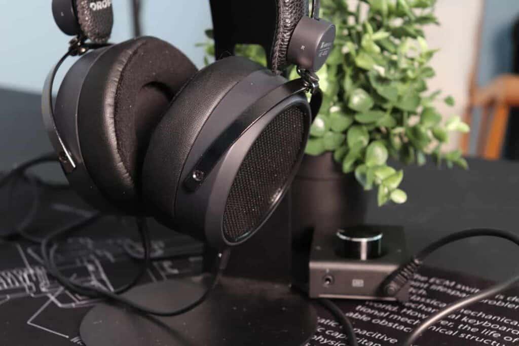 Drop + Hifiman HE4XX  headphones on stand