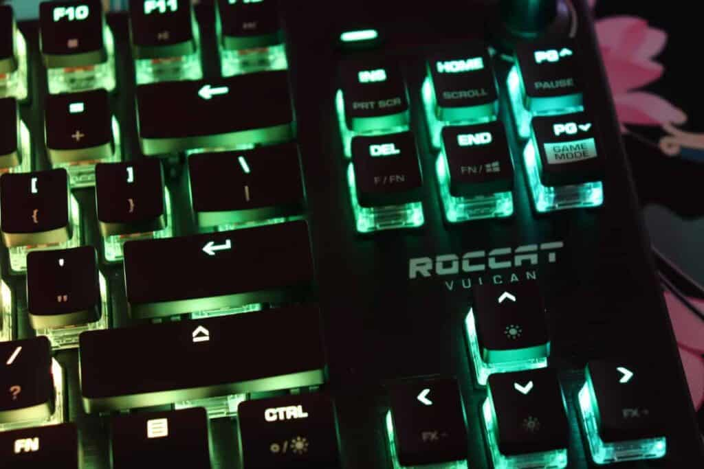 Close up top view of Roccat Vulcan TKL Pro