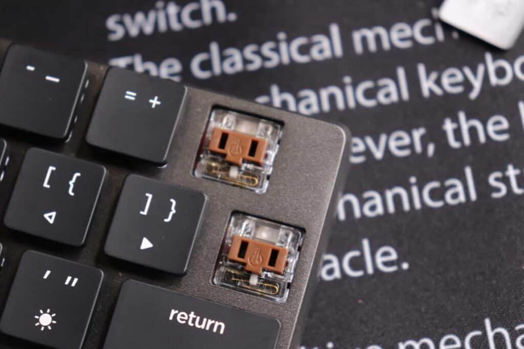 Switches on the Nuphy Nutype F1 mechanical keyboard