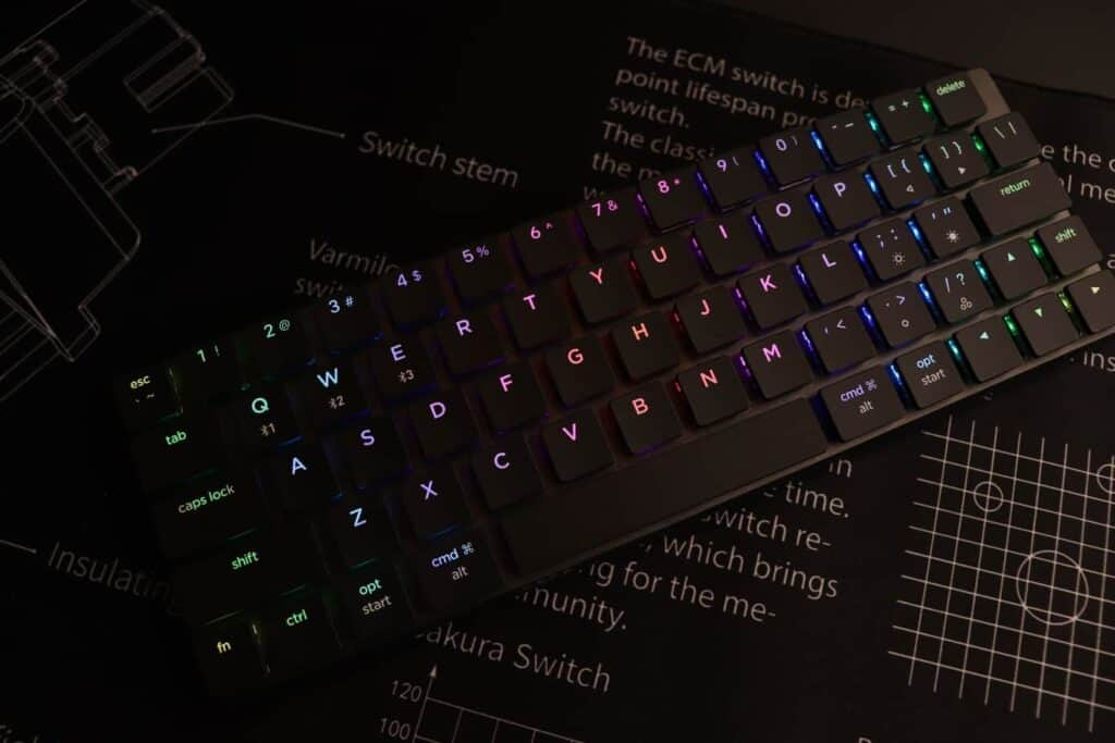 Top view of the Nuphy Nutype F1 mechanical keyboard.