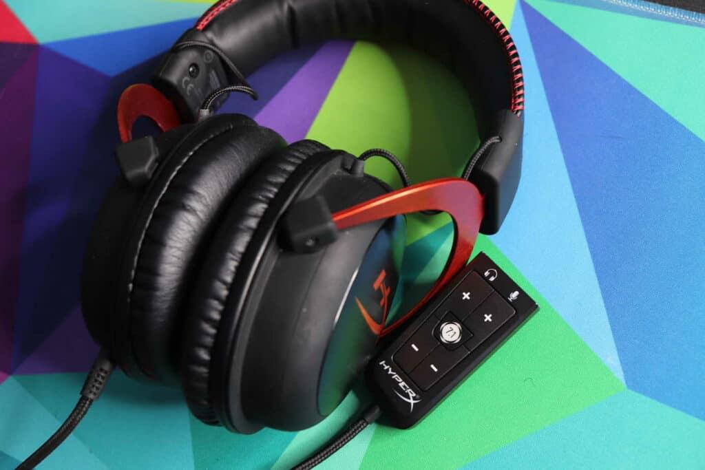 HyperX gaming headset sitting on deskmat