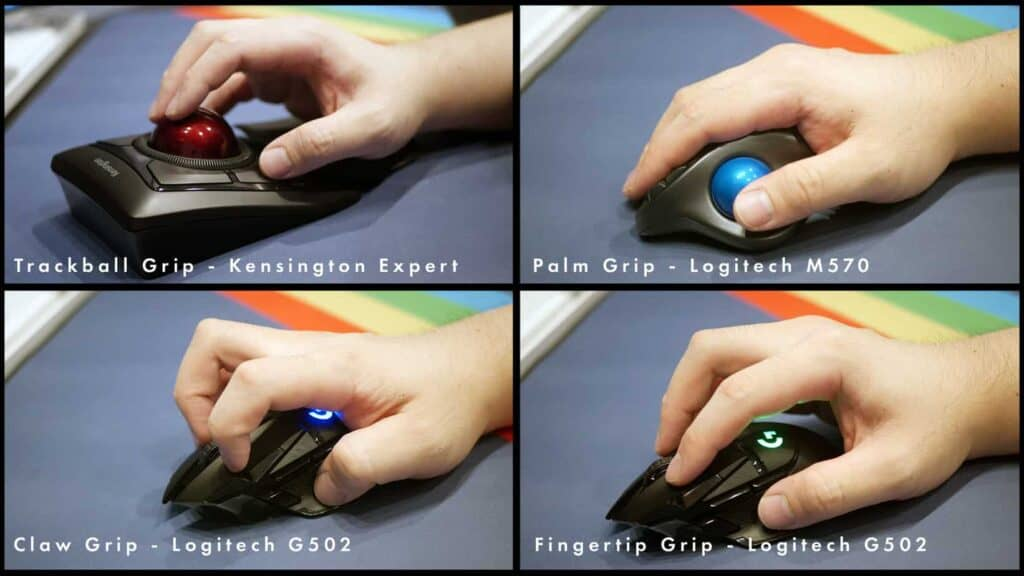 Different ways of gripping mice and trackballs