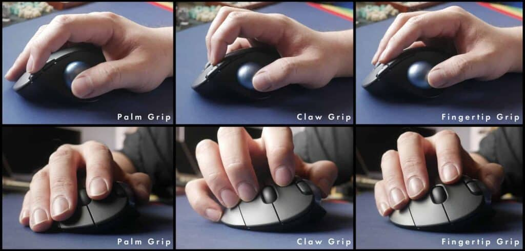Differnt angles of the different ways to grip the Logitech M575