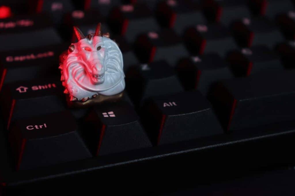 Artisan keycap on a mechanical keyboard