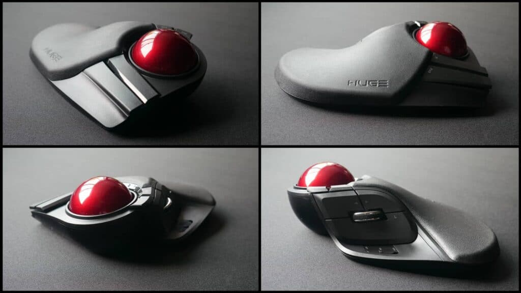 Different angles of the Elecom HUGE trackball mouse