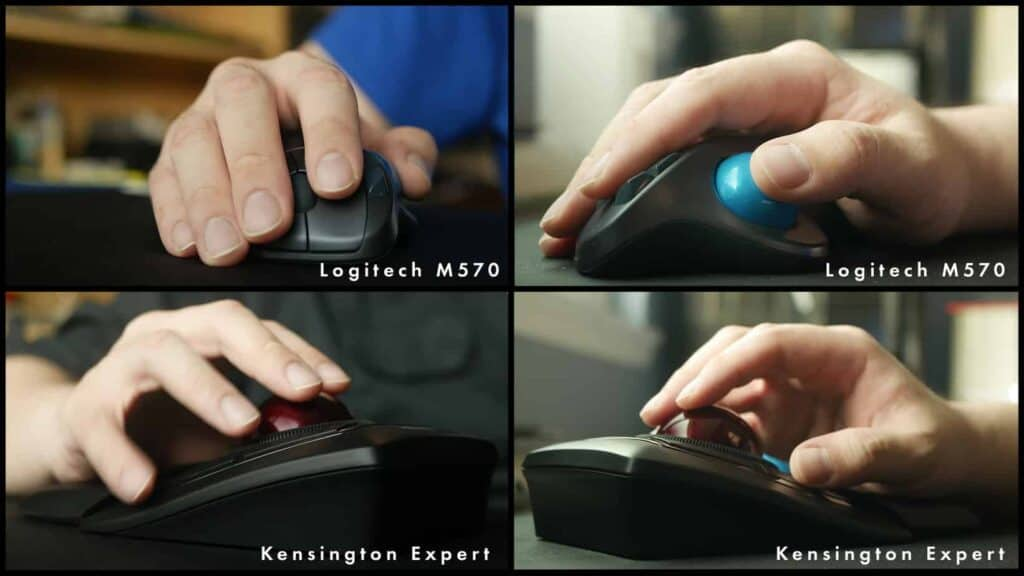 Different angles showing how different kinds of trackballs are used