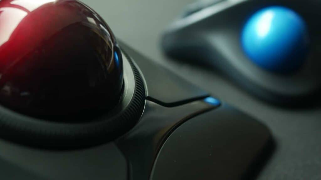 Close up of two trackball mice