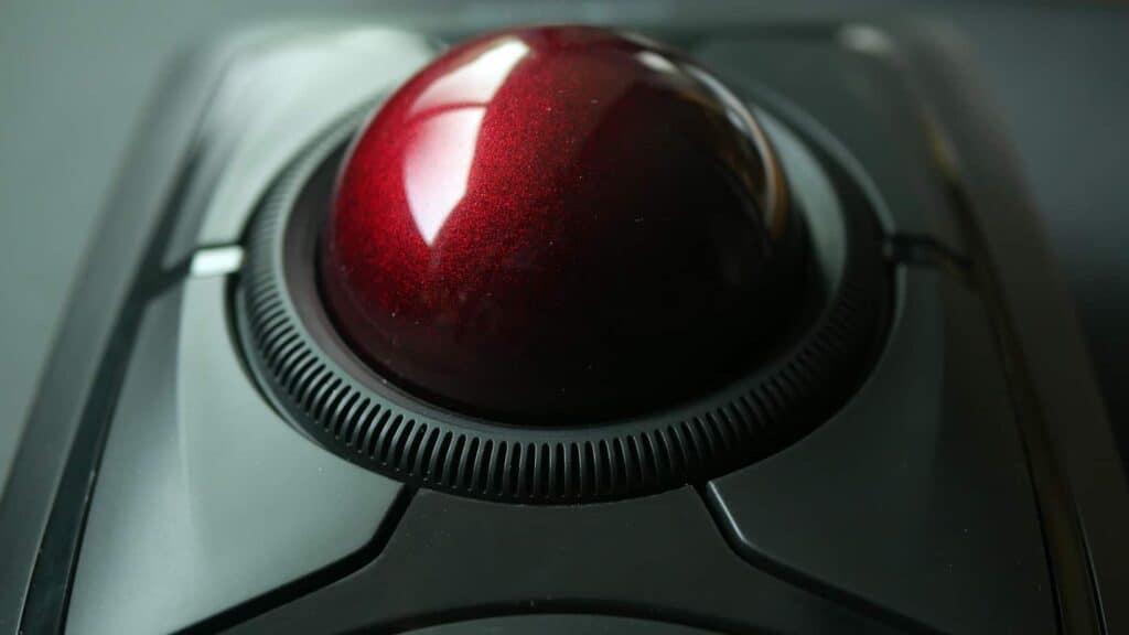 Close up of Kensington Expert trackball