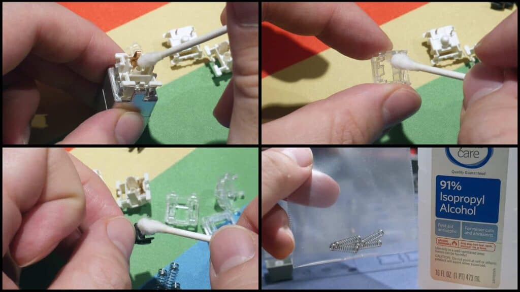 wiping mechanical switches with alcohol swabs