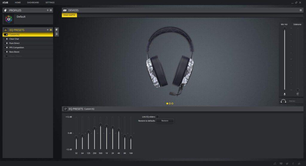 iCue customization for Corsair HS60 Haptic