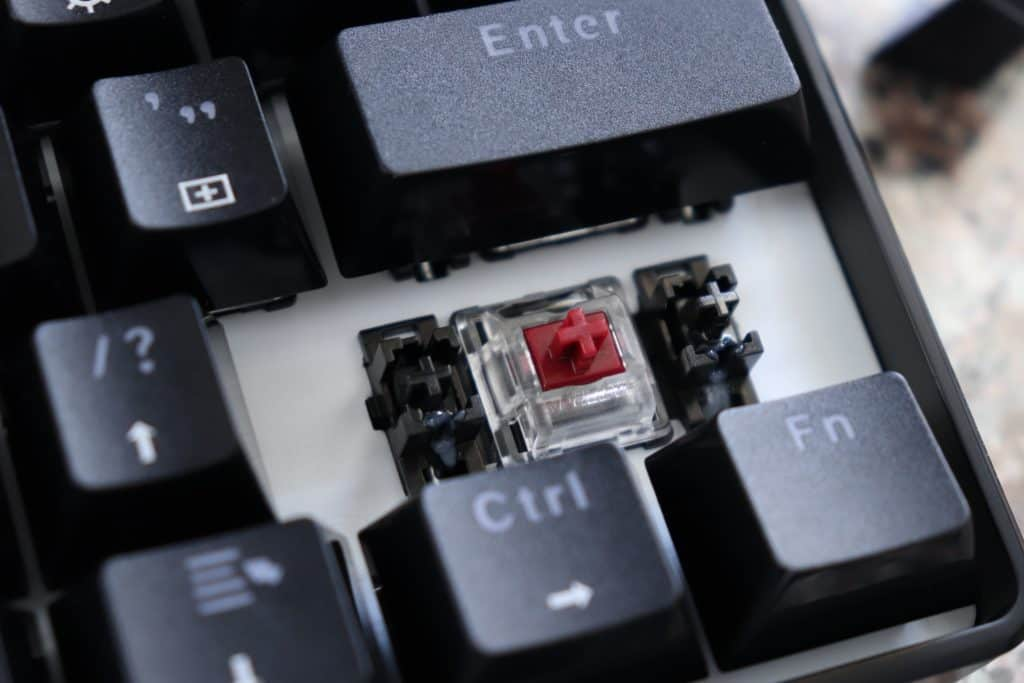 Close up of a switch on a mechanical keyboard