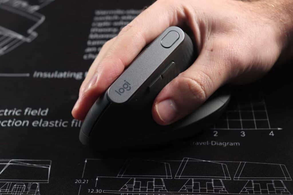 a vertical mouse being used