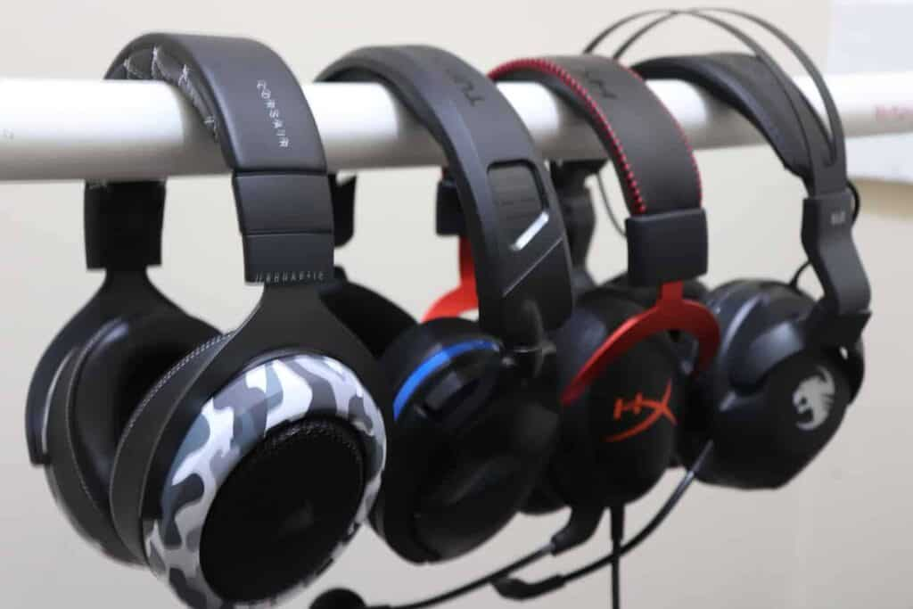 Corsair HS60 Haptic next to other gaming headsets
