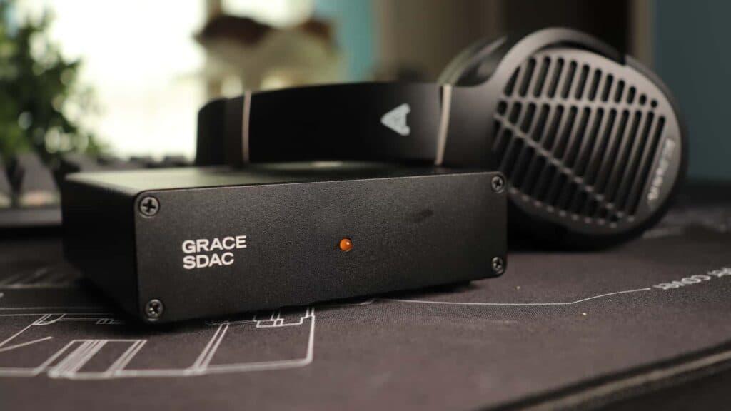 Headphones lying on a DAC