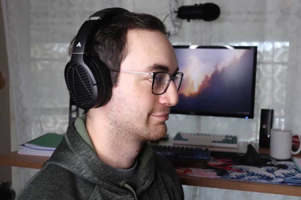 Audeze LCD-1 being worn with classes