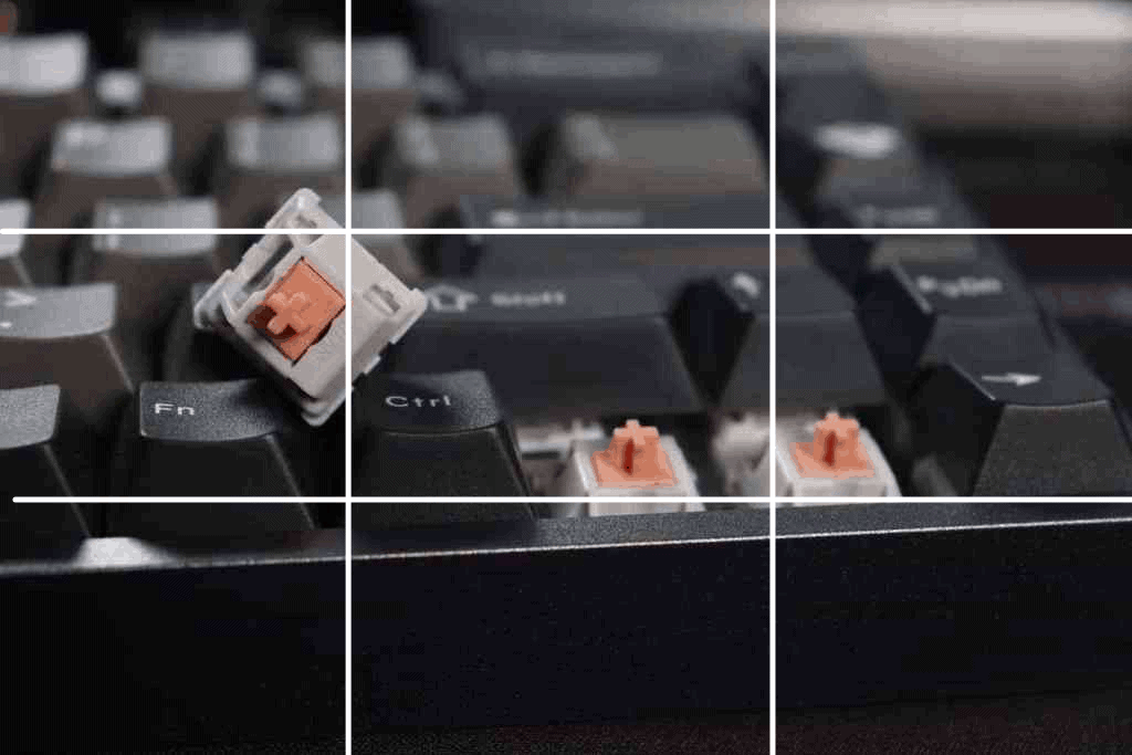 Picture of keyboard and switches being taken with the rule of thirds lines