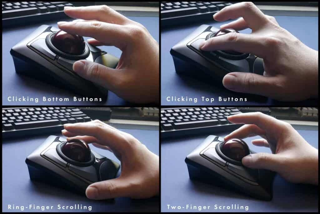 Different ways of scrolling and clicking buttons on trackball mice