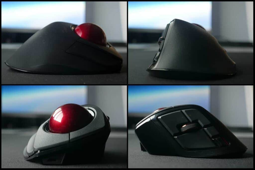 Different angles of the Elecom Deft Pro trackball