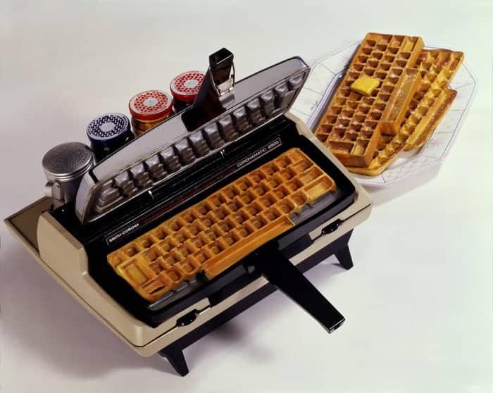 Waffle Iron with mechanical keyboard imprint.