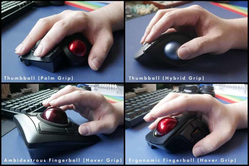 Different ways of gripping different kinds of trackball mice