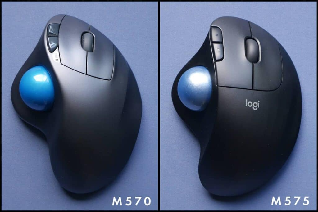 Logitech M570 and Logitech M575 side by side comparison