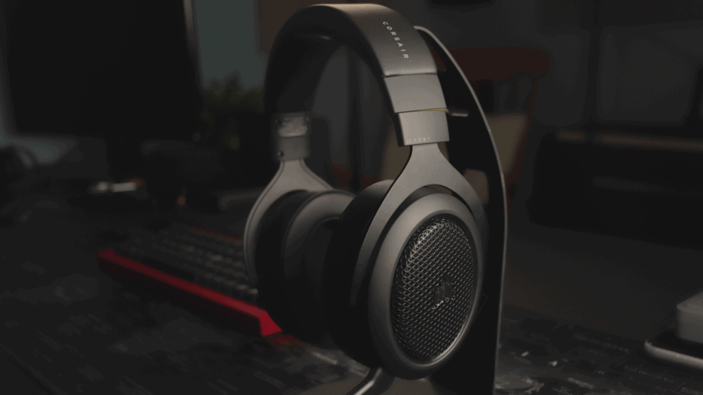 Corsair HS70 BT on headphone stand