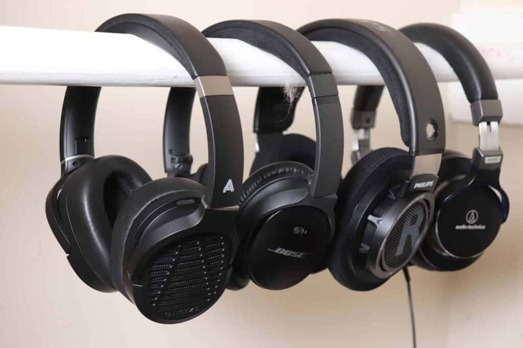 headphones hanging up next to each other