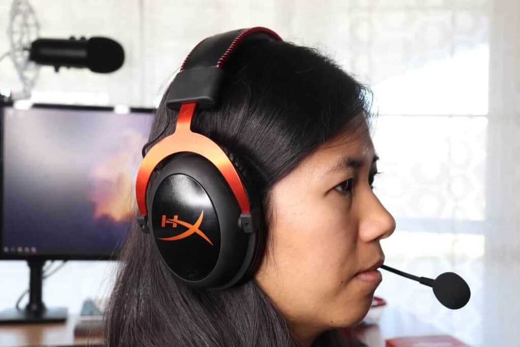 a gaming headset being worn