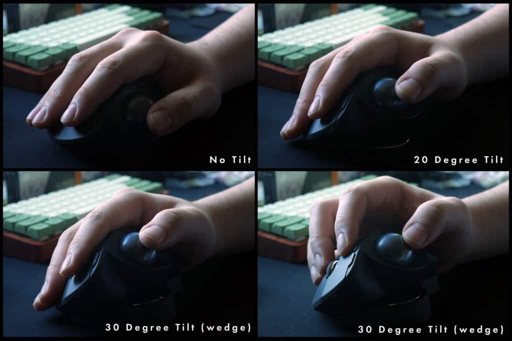 Different tilt settings on the Logitech MX Ergo Plus
