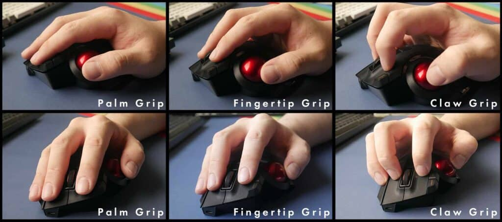 Different angles of the different ways to grip the Elecom Ex-G Pro trackball mouse