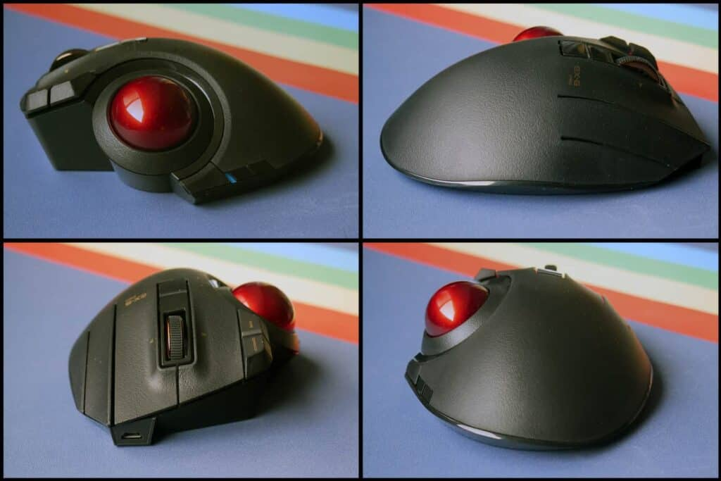 Different sides of the Elecom Ex-G Pro trackball mouse