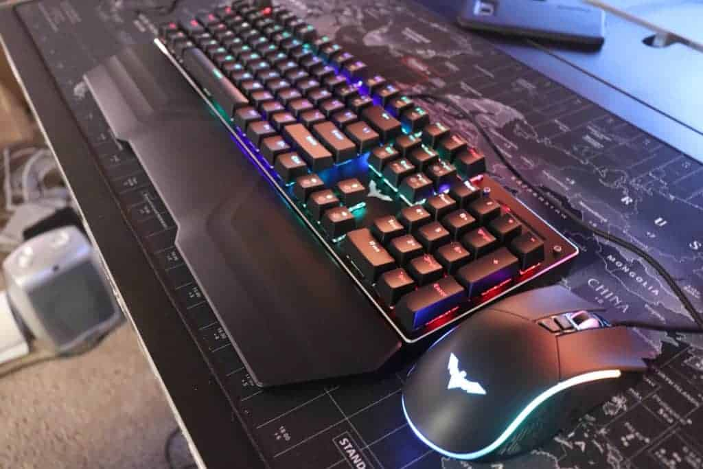 Angled view of Havit Keyboard And Mouse Combo on desk