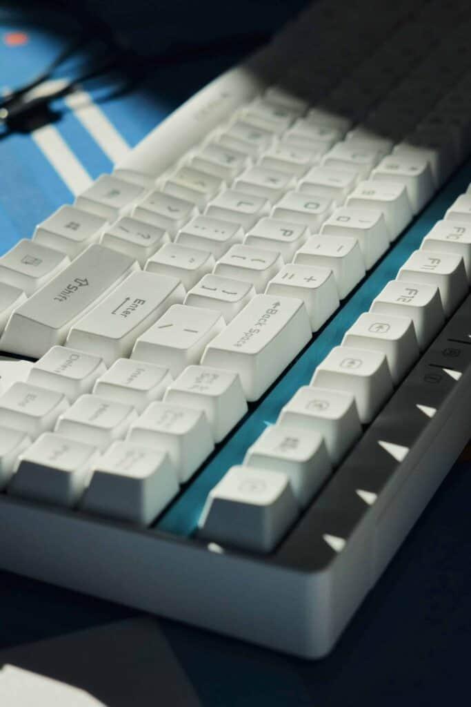 Angled view of a mechanical keyboard